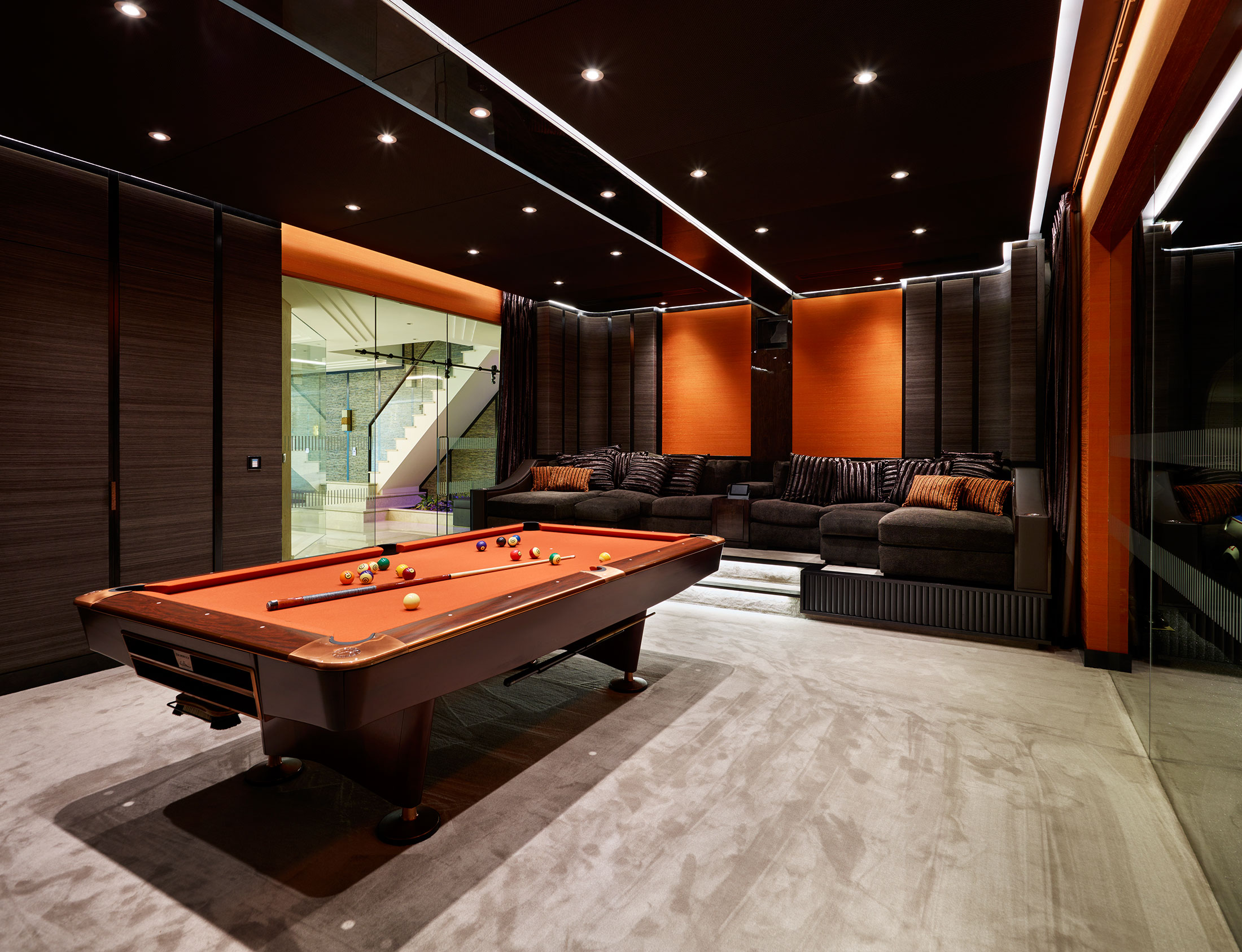 luxury interior design london residence cinema and pool room